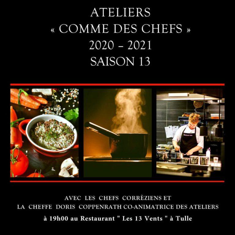 """Affiche de présentation des Ateliers """"Cuisinez Comme des Chefs"""" pour la saison 2020-2021 au restaurant Les 13 Vents à Tulle, avec des chefs corréziens"""
