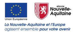 """logos de la Région Nouvelle-Aquitaine et de l'Union Européenne, partenaire de l'organisme de formation Les 13 Vents-EIMCL (Tulle, Corrèze) avec le texte: """"La Nouvelle-Aquitaine et l'Europe agissent ensemble pour votre avenir"""""""